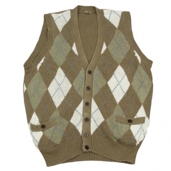 Papas Argyle Pattern Linen Knit Vest Größe S-M(K-58702)