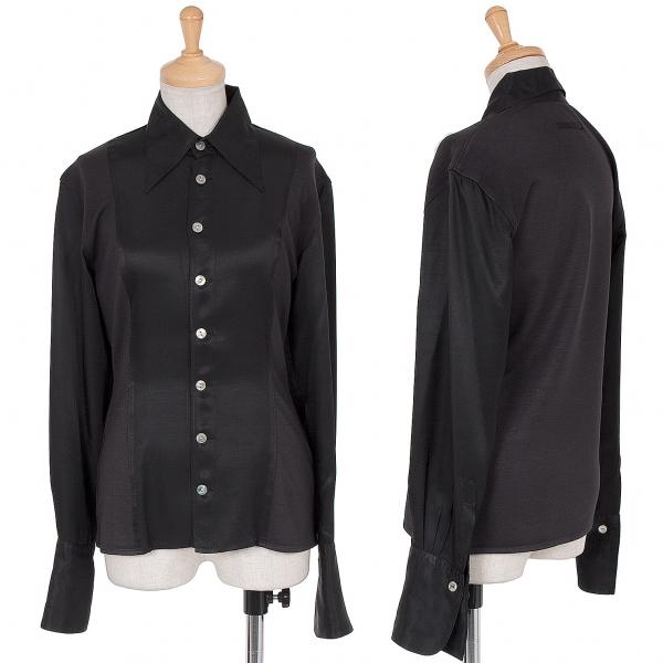 ジャンポールゴルチエ ファムJean Paul GAULTIER FEMME シルク混生地切替デザインシャツ 黒40