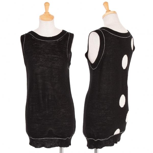Yohji Yamamoto schwarz Polka Dot Sleeveless Shirt Größe 2(K-58793)