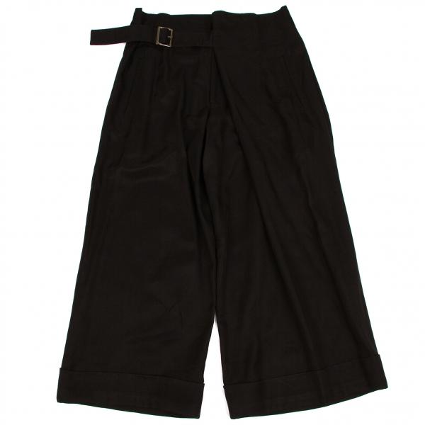 Yohji Yamamoto black Belted Wide Pants Size 2(K-58983)