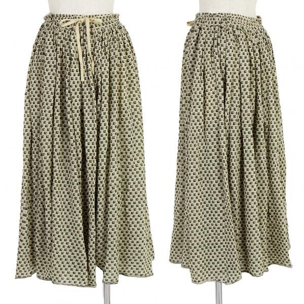 【SALE】ワイズY's ジャガードニットギャザースカート 生成り緑3