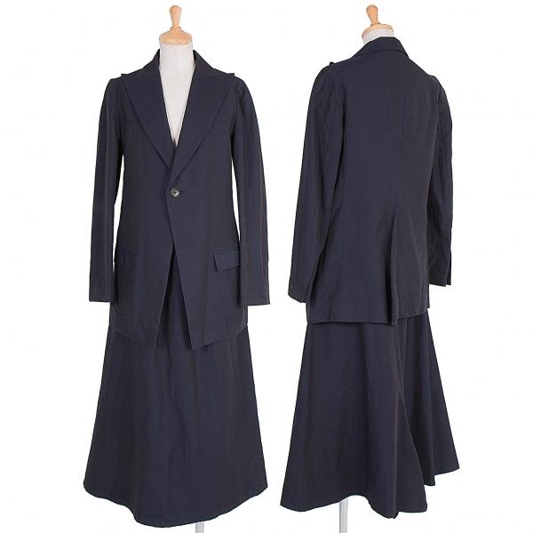【SALE】ヨウジヤマモトノアールYohji Yamamoto NOIR コットンリネンピークドラペルセットアップスーツ 濃紺1