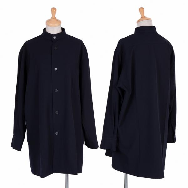 ワイズY's ウールギャバスタンドカラージャケット 紺3