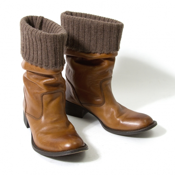 Y's Rib Knit Layered Leather Boots Size 2(About US 6.5)(K-59565)