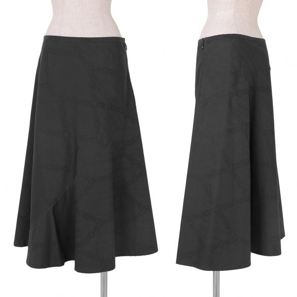 リミフゥLIMI feu ポリコットンチェーン柄ジャガードスカート 墨黒S