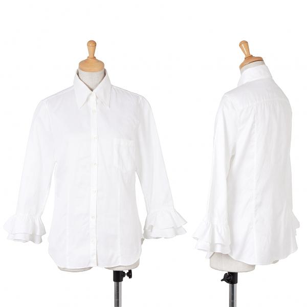 ケイタマルヤマKEITA MARUYAMA 袖フリルコットン七分袖シャツ 白1