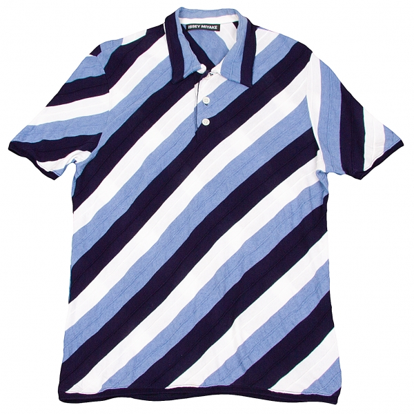 イッセイミヤケ メンISSEY MIYAKE MEN マルチボーダーポロシャツ 白ブルー紺2