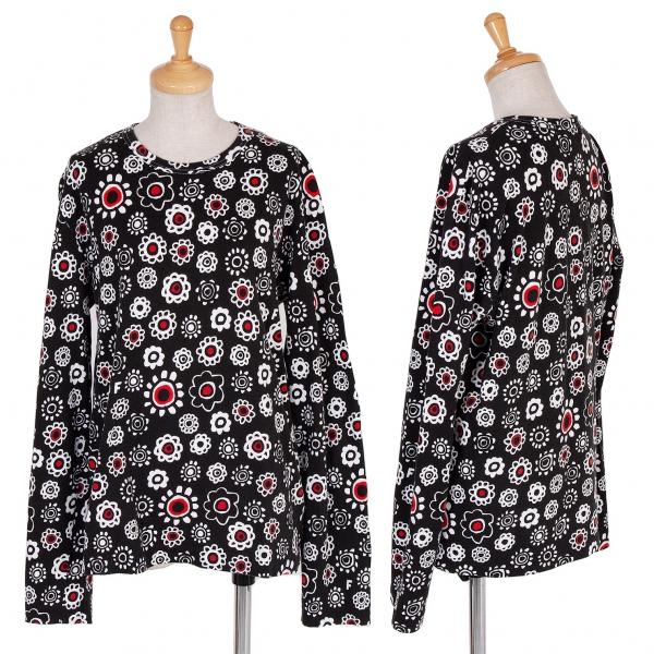 ブラック コムデギャルソンBLACK COMME des GARCONS 花柄プリントカットソー 黒白赤L