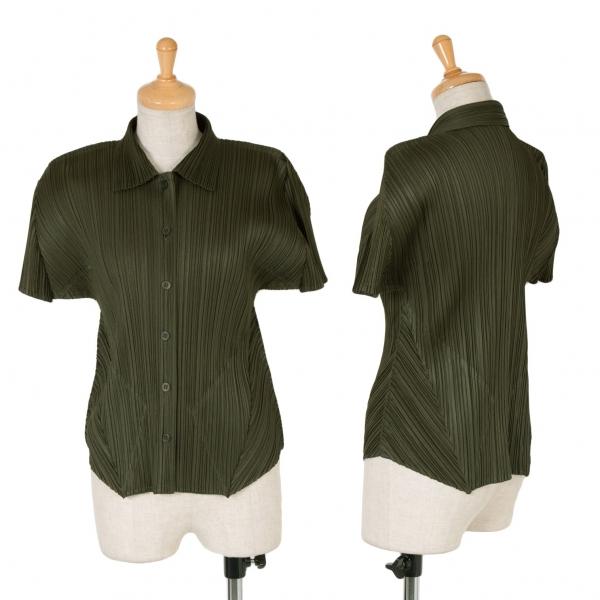 プリーツプリーズPLEATS PLEASE 変形半袖シャツ カーキ3