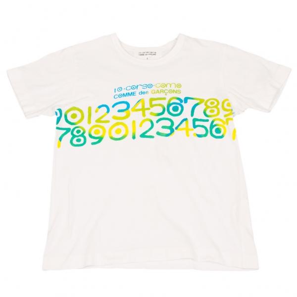 コムデギャルソン×コルソコモCOMME des GARCONS ロゴプリントTシャツ 白青緑S