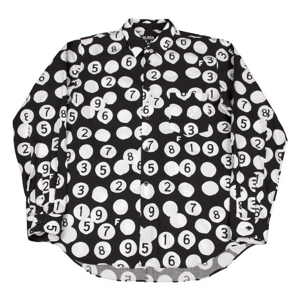 ブラック コムデギャルソンBLACK COMME des GARCONS ドットナンバープリントシャツ 黒白L