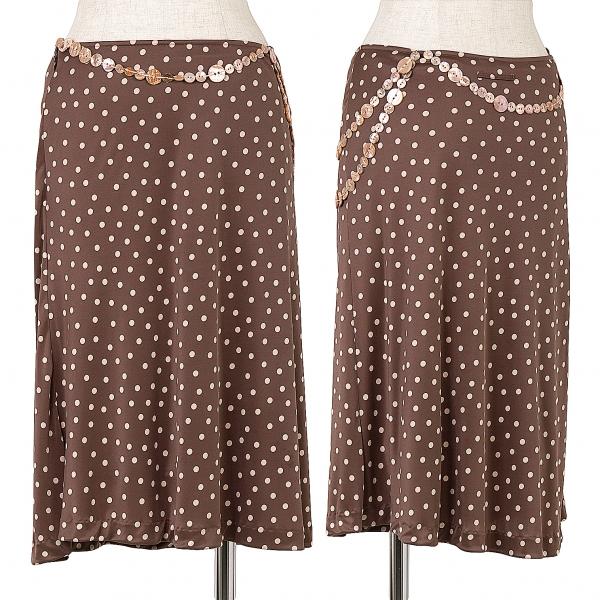 ジャンポールゴルチエ ファムJean Paul GAULTIER FEMME ボタンデザインドットスカート 茶ピンク40