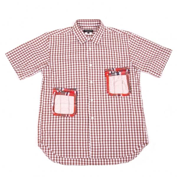 【SALE】コムデギャルソン オムプリュスCOMME des GARCONS HOMME PLUS パッチポケットギンガムチェックシャツ 茶オフ赤他XS