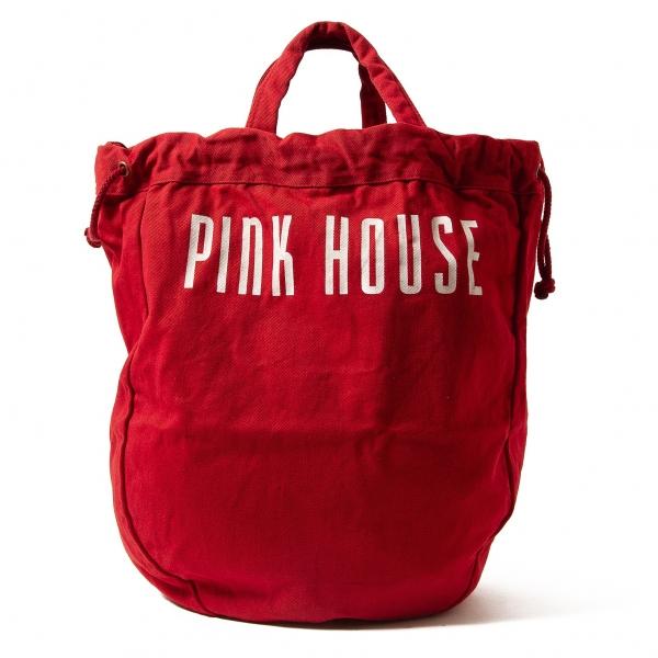 ピンクハウスPINK HOUSE ロゴプリント巾着トートバッグ 赤