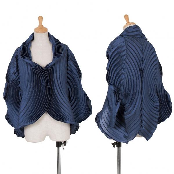 イッセイミヤケISSEY MIYAKE 円形プリーツ1Bデザインジャケット 紺2