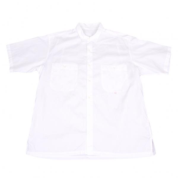 【SALE】パパスPapas コットンダブルパッチ半袖シャツ 白L