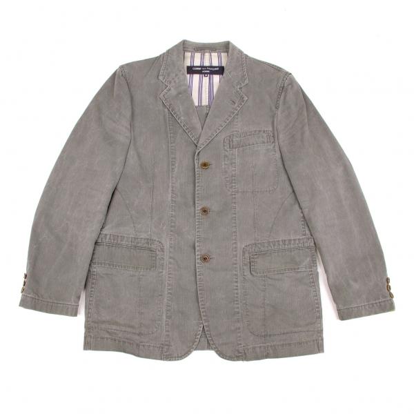 【SALE】コムデギャルソン オムCOMME des GARCONS HOMME コットン製品洗いジャケット グレーベージュ紺他M