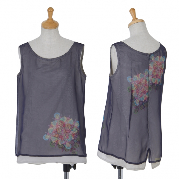 Y's bis LIMI Layerot Printed Sleeveless Shirt Größe S(K-61545)