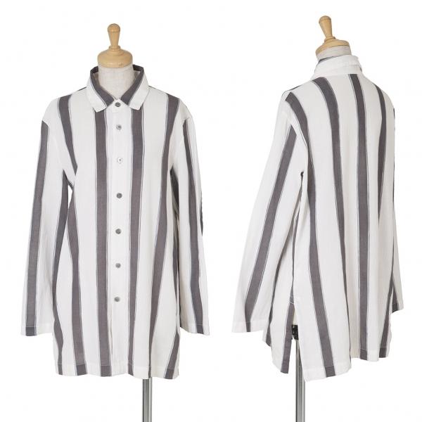 ISSEY MIYAKE PERMANENTE Striped Long Sleeve Shirt Size M(K-61756)