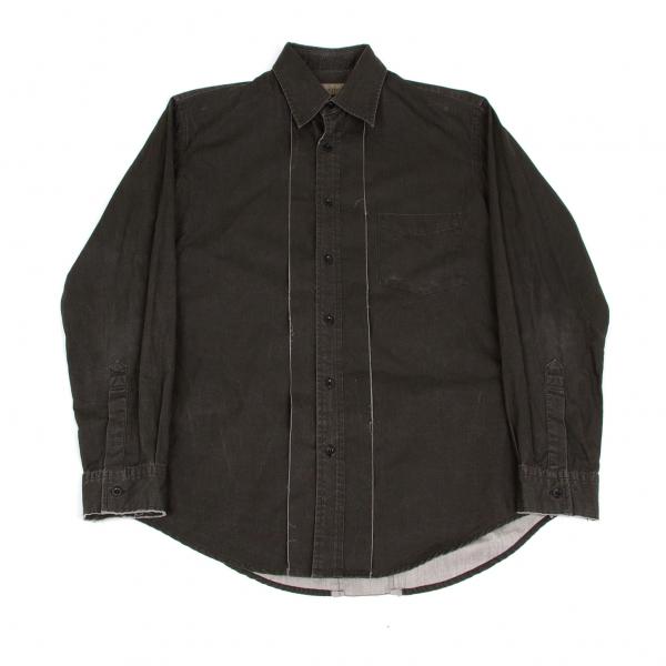 ワイズフォーメンY's for men 切替デザインシャツ 墨黒M位