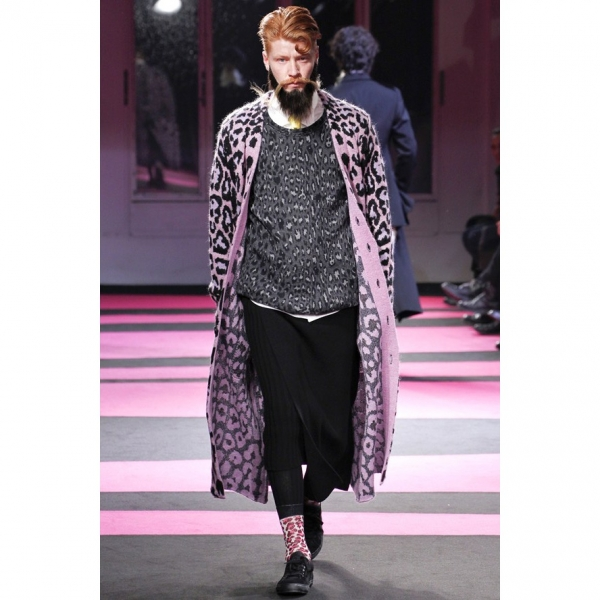 Yohji Yamamoto POUR HOMME Leopard Knit Gown Coat Größe 3(K-61948)