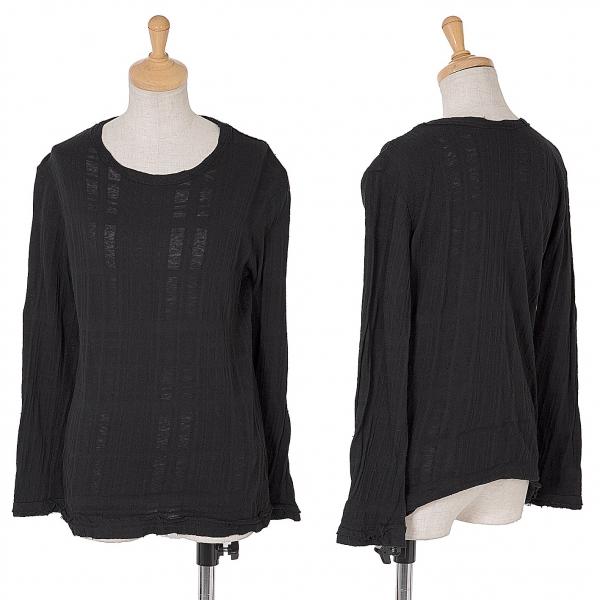 ワイズY's チェック織りコットンニットトップス 黒2