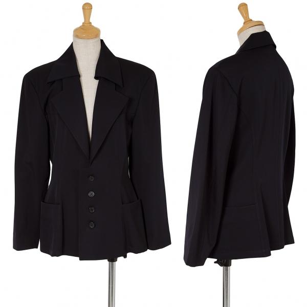 ワイズY's 付け衿ウールギャバデザインジャケット 紺M位
