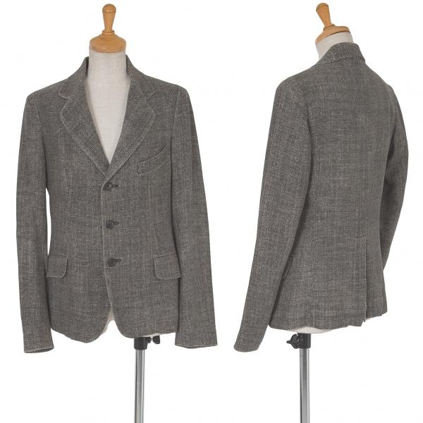 ワイズY's シルクネップ3Bジャケット グレー2