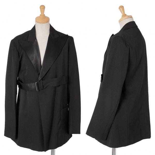 ワイズY's サテンラペル切替ベルトデザインウールギャバジャケット 黒3