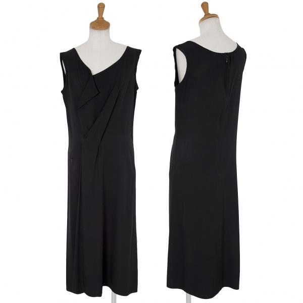 Yohji Yamamoto negro Cortina Diseño Seda  Vestido Talla 2 (K-62335)  80% de descuento