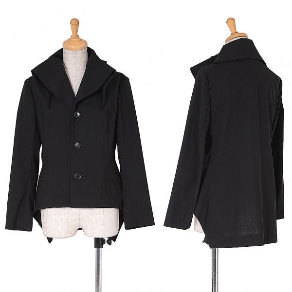 ヨウジヤマモト ファム Yohji Yamamoto FEMME 衿デザインサマーウール3Bジャケット 黒1