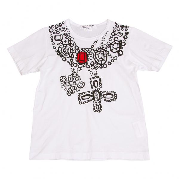 コムコム コムデギャルソンCOMME des GARCONS 手書きビジュープリントTシャツ 白黒赤S