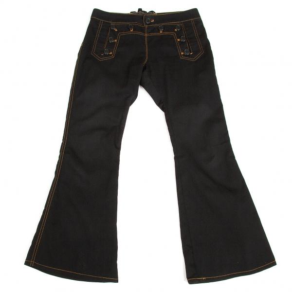 ジャンポールゴルチエJean Paul GAULTIER PARIS デザインウエストブーツカットパンツ 黒オレンジ38