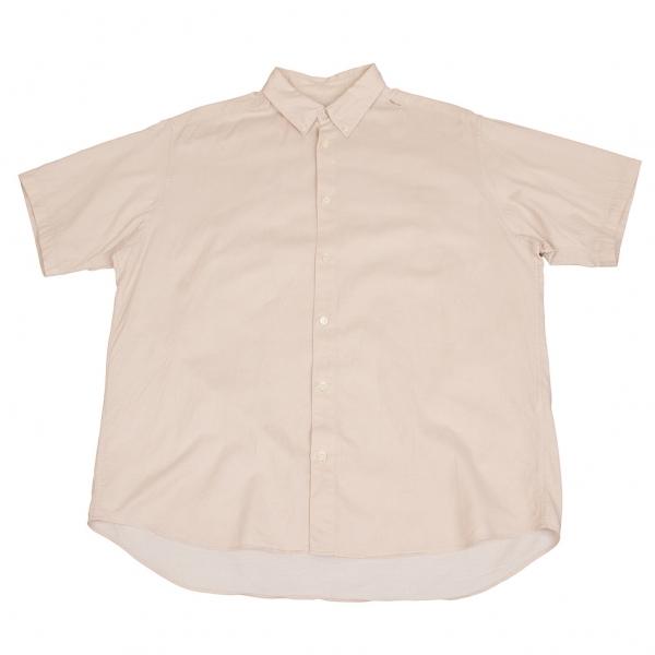 パパスPapas コットンツイルボタンダウン半袖シャツ ベージュ50L
