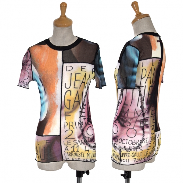 Jean-Paul GAULTIER Graphic Pattern Stretch Mesh T Shirt Größe 40(K-63005)