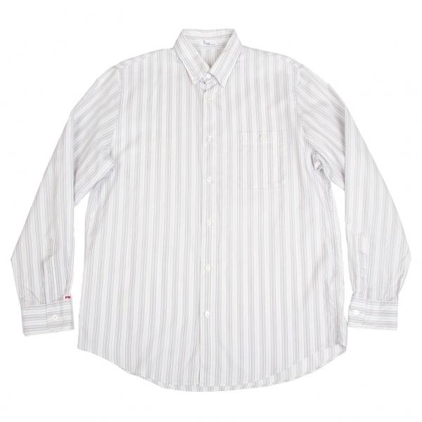 パパスPapas マルチストライプボタンダウンシャツ 白マルチ50L
