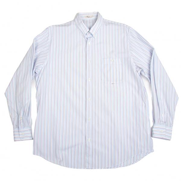 パパスPapas オルタネイトストライプボタンダウンシャツ 水色白50L