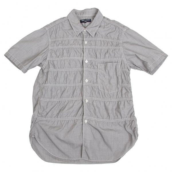 コムデギャルソン オムCOMME des GARCONS HOMME パッカリングボーダー切替半袖シャツ ライトグレーXS