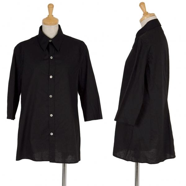 ワイズY's 七分袖裁ち切りデザインコットンシャツ 黒3