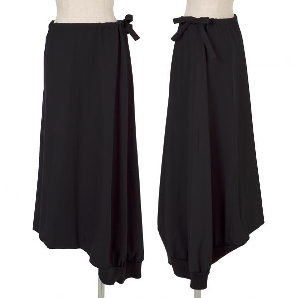 ヨウジヤマモト ファムYohji Yamamoto FEMME ウールギャバアシメリブスカート 濃紺1