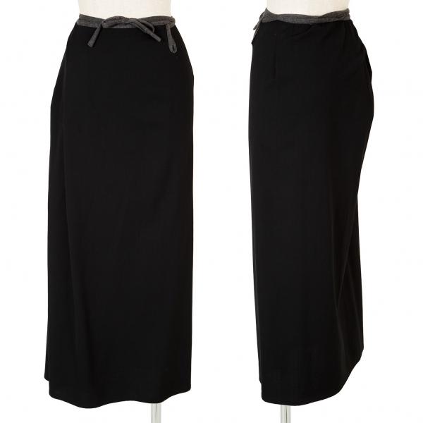 ワイズY's ウールギャバパイピングラップスカート 黒3