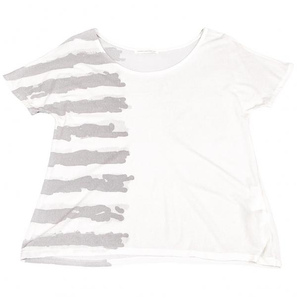 Y's Line Printed Silk T Shirt Größe 2(K-64158)