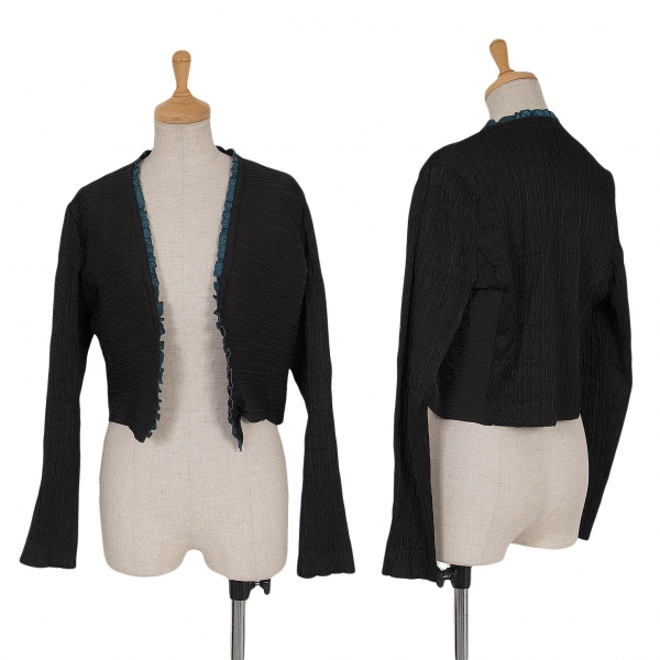 HIROKO BIS Pleated Piping Buttonless Cardigan Size 9(K-64187)