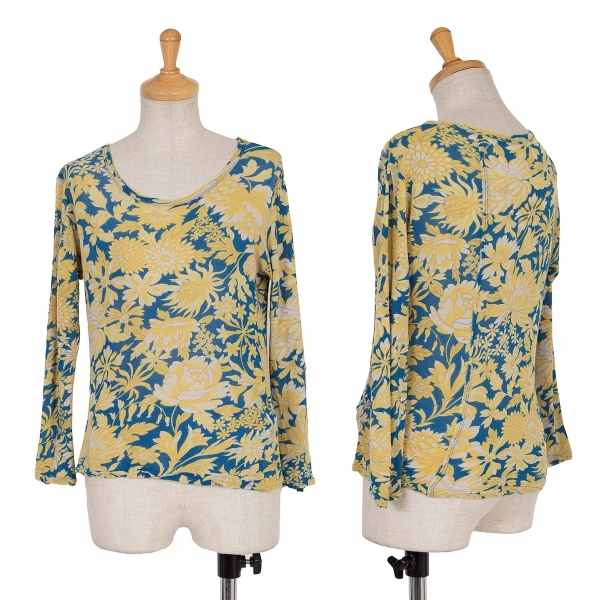 ワイズY's フラワープリント七分袖カットソー 青黄2