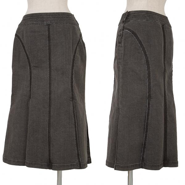 ヒロコビスHIROKO BIS esseNtieL ブラックデニムロングスカート 墨黒9
