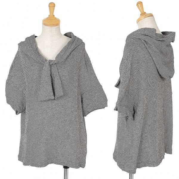 Y's Bias Striped Short Sleeve Hoodie Size 2(K-64655)