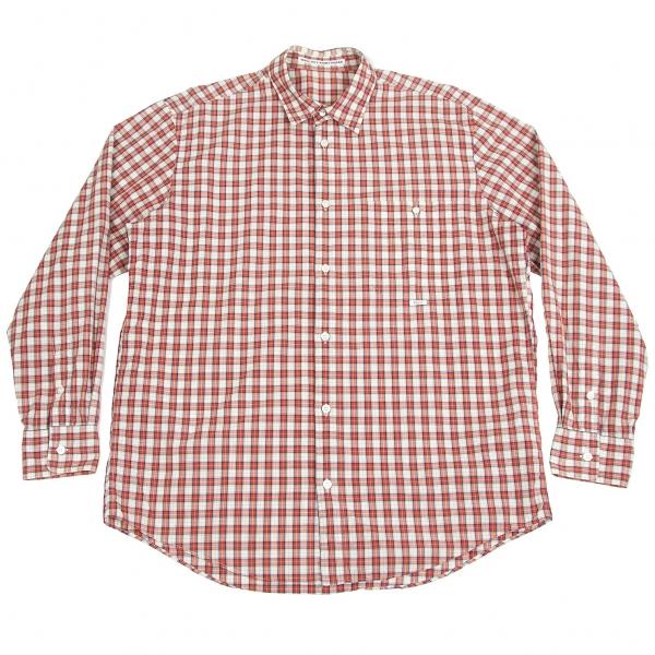 パパスPapas コットンチェック長袖シャツ 白赤50L
