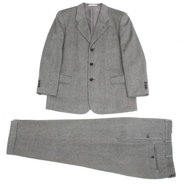 パパスPapas ウールバーズアイセットアップスーツ 黒グレーS/M