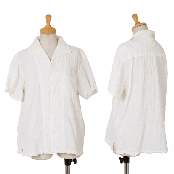 Plantation Shirring Short Sleeve Shirt Größe M(K-65268)