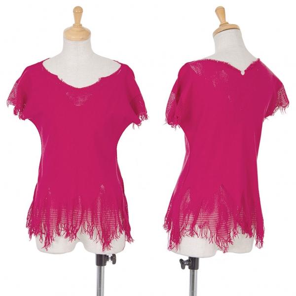 イッセイミヤケISSEY MIYAKE A-POC INSIDE メッシュ織り替えフリンジTシャツ ピンク2